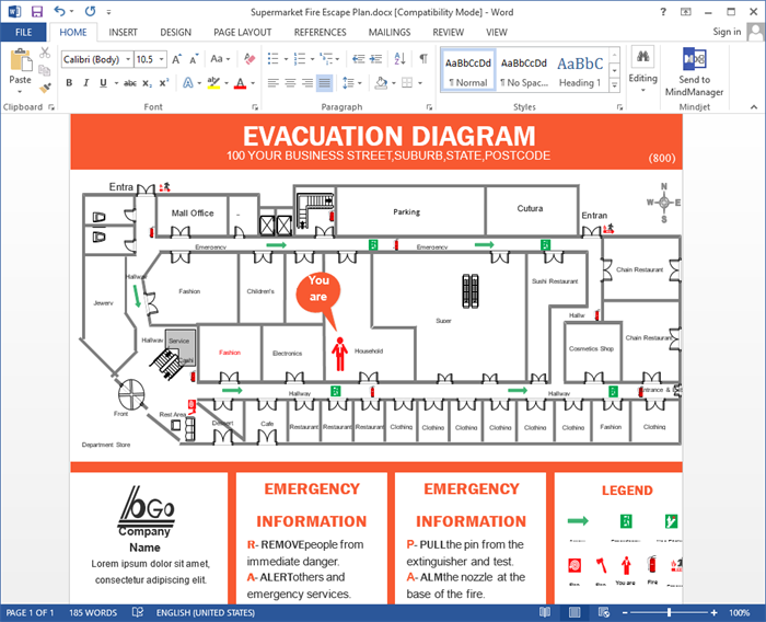 Evacuation Plan for Word